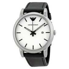 Emporio Armani Classic White Dial Black Leather Strap Mens Watch AR1694