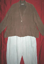 "!!REDUCED!! - OSKA jacket brown QUIRKY 100% linen 48"" BUST lagenlook size 2 BOHO"