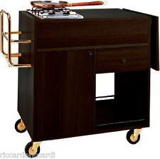 Carrello flambé cm 143X58X85H wengé piano cottura un fuoco, ribalta, 1 cassetto