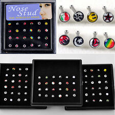 Wholesale body Jewelry 24X Cute Mixed Face Color Nose Ring Piercing Nose Studs
