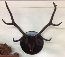ANTIQUE CARVED WALNUT STAG HEAD