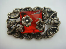 ART DECO REPOUSSE STERLING SILVER RED CZECH GLASS MINIATURE FLOWER PIN BROOCH