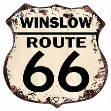 BP-0022 WINSLOW ROUTE 66 Shield Rustic Chic Sign Bar Store Shop Home Decor