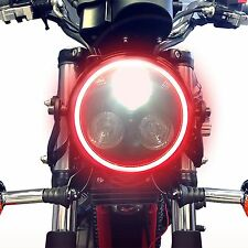 Black LED Headlight with Red Angel Eye Halo Ring Motorcycle Cafe Racer Project