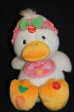"People Pals Quacking Duck Sound Carrot Foot Pink Head Band Bib Plush 10"" Toy"
