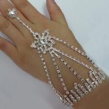 Hochzeit Braut Strass Armschmuck mit Ring Bollywood Sklaven Armband STERN