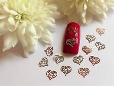 50 x Nail Art Silver Rose Gold Valentines Love Hearts Thin Metal Spangles 2VH