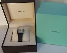 Authentic! Tiffany & Co 27mm Grand Gent SS Quartz Unisex Watch with satin strap