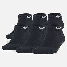 $42 NIKE Mens 6 PAIRS PACK Athletic LOW CUT ANKLE SOCKS Black Cotton SHOE 8-12