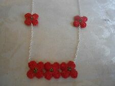 Exquisite ATELIER GODOLE Handmade in France Red Floral Sterling Silver Necklace!