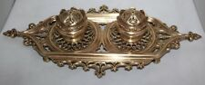 Vintage Brass Double Inkwell Complete with Glass Inserts  #PL398 FREE Postage