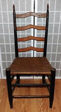 Antique Primitive Ladder Back Chair Finely Turned Finials Orig. Paint Woven Seat