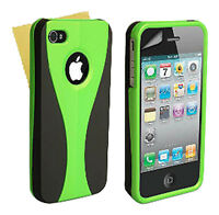 Stylish Grip Series Black Green Hard Cover Case For iPhone 4 4S + Screen Guard