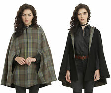 Outlander Claire Fraser tartan/black reversible hooded cape, Hot Topic, 2X/3X
