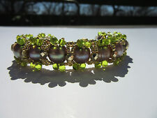 Bracelet Genuine Pearls w Gold Tone & Light Green Accents Made in USA Gift WOW