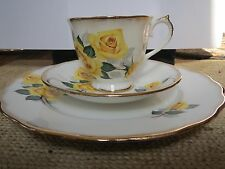 ROYAL CASTLE/IMPERIAL YELLOW ROSE CUP, SAUCER & PLATE - MARRIED SET