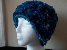 Hand knitted fuzzy & soft beanie/hat, blue, purple, turquoise tones