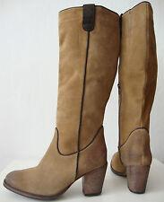 ESPRIT Damen Stiefel Echtleder Wildleder Boots Wadenhohe Braun Gr.39 NEU