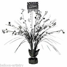 """18"""" Classic Black & White Happy Birthday Party Table Centrepiece Decoration"""