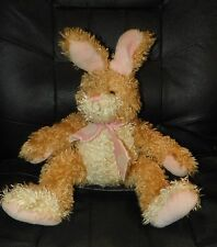 "Shaggy Looking Easter BUNNY Rabbit With Pink Ribbon 15"" GUC"