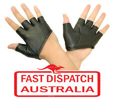 Punk Rock Goth Gothic Party Costume Gloves Man Made Leather SEXY HALF PALM