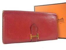 Auth HERMES Bearn Chevre Leather Bifold Wallet Purse Red F/S 12796eQaB