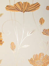 Vlies Tapete PS 13203-50 Floral Blumen Ranken creme braun orange gold Glitzer