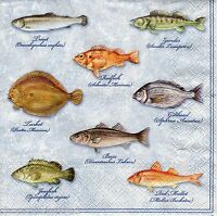 4 x Single Designer PAPER NAPKINS Nautical Fishes DECOUPAGE CRAFTS