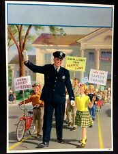 """POLICEMAN SCHOOL GUARD KIDS BY ART FRAHM LARGE LITHO PRINT 12"""" by16""""1950s #C68"""