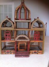 Beautiful Hand Painted, Wooden Antique Vintage Birdcage, Possibly Victorian