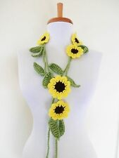 Crochet  SUNFLOWERS   Lariats  Scarf  Necklace  Jewelry  Women  Flowers  SHAWLS