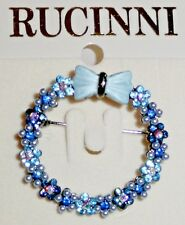RUCINNI SWAROVSKI CRYSTALS BROOCH  / Blue Enamel Flowers Wreath