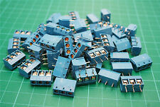 10PCS 3-Pin 5.08mm Pitch Panel PCB Mount Plug-in Blue Terminal Screw Block