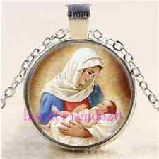 Mary & Jesus Photo Cabochon Glass Tibet Silver Chain Pendant Necklace