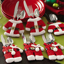 6 x Christmas Dinner Tableware Silverware Cutlery Holders Pockets Table Decor