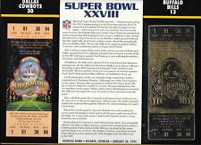 WILLABEE & WARD NFL SUPER BOWL XXVIII TICKET 22k GOLD REPRODUCTION COWBOYS BILLS