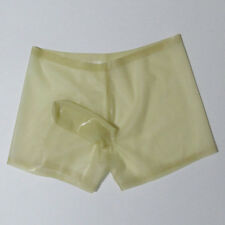 Sexy Latex Rubber Men's Boxer Panties With Cock Cover Shorts Underwear