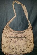 Thirty One Darker Brown Parisian Jacquard Shoulder Handbag Satchel Bag