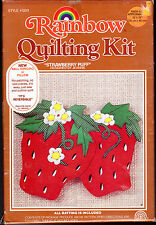 """1982 Rainbow Quilting Kit 5011 """"Strawberry Puff"""" Applique Wall Hanging or Pillow"""