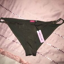 NEW River Island Khaki Gold Itsy Cheeky Brazilian Band Bikini Brief Bottom 12