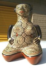 Vintage  Peruvian  Shipibo hand-made and  painted polychrome pottery female vase