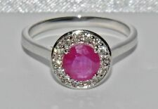 Stunning 18ct White Gold 1.00ct Ruby & Diamond Halo Cluster Ring - size M