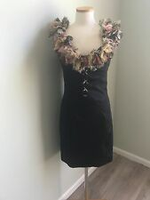 Just Cavalli Little Black Ruffled Cocktail Dress Sz 42 Made In Italy