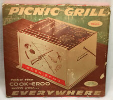 Vintage 50s Portable Picnic Grill Cook-eroo Eclipse Metal BBQ Barbecue UNUSED