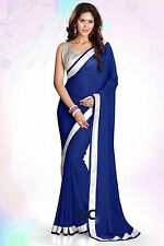 Royal Blue Bollywood Chiffon Plain Silver Border Party Wear Saree Sari Dress TOP
