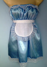 blue satin dress + apron adult baby fancy dress sissy french maid cosplay 36-52