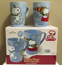 Snoopy Christmas Peanuts Hallmark Latte Mugs Set 2 w Spoons Cups New