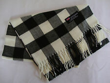 100% Cashmere Winter Scarf Scarve Scotland Warm Checkered White Black Wrap Shawl