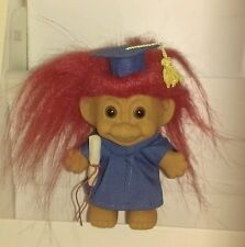 Vtg New Russ Berrie Red Hair Troll Doll Graduate Blue Cap & Gown with Diploma 4""