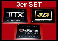 "3er Set- ""THX/ 3D / DTS-HD High Definition Audio"" Logo Leinwand Schild Heim Kino"